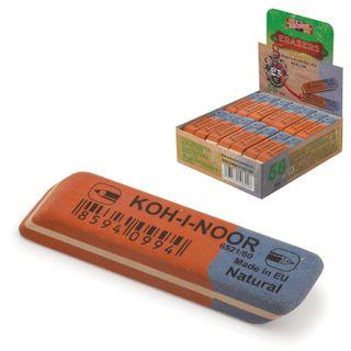 Eraser KOH-I-NOOR, 57x14x8 mm, red-blue, rectangular, beveled edge, natural rubber, 6521/80