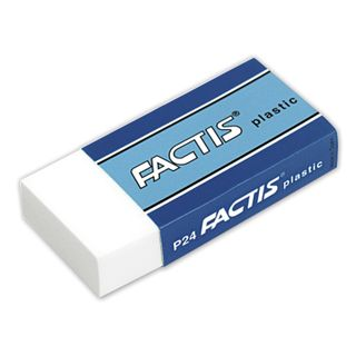 Eraser FACTIS Plastic P 24 (Spain), 50х24х10 mm, white, rectangular, soft PVC