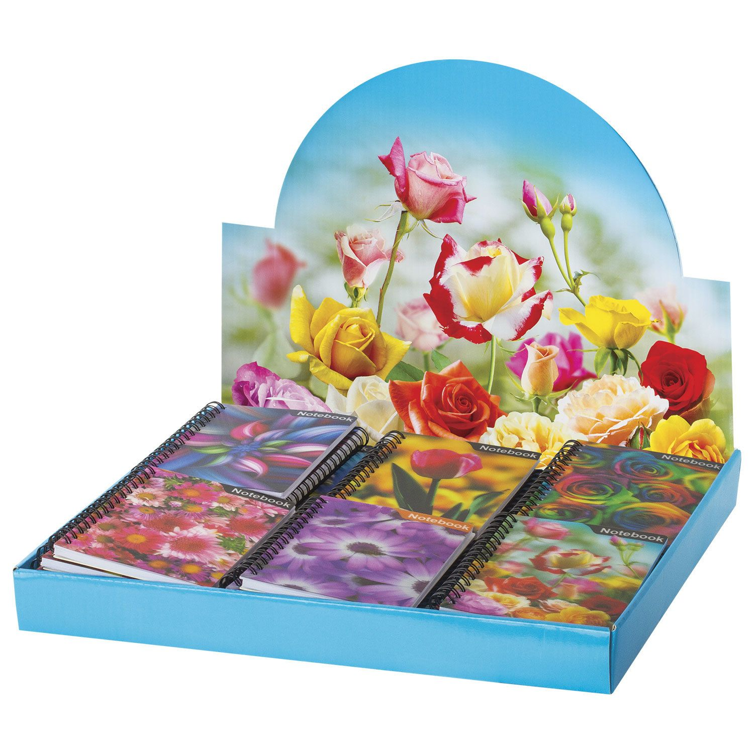 """BRAUBERG / Notebook SMALL FORMAT (93x135 mm) A6, 50 sheets, comb, plastic 3D-cover, without ruling """"Flowers"""" assorted"""