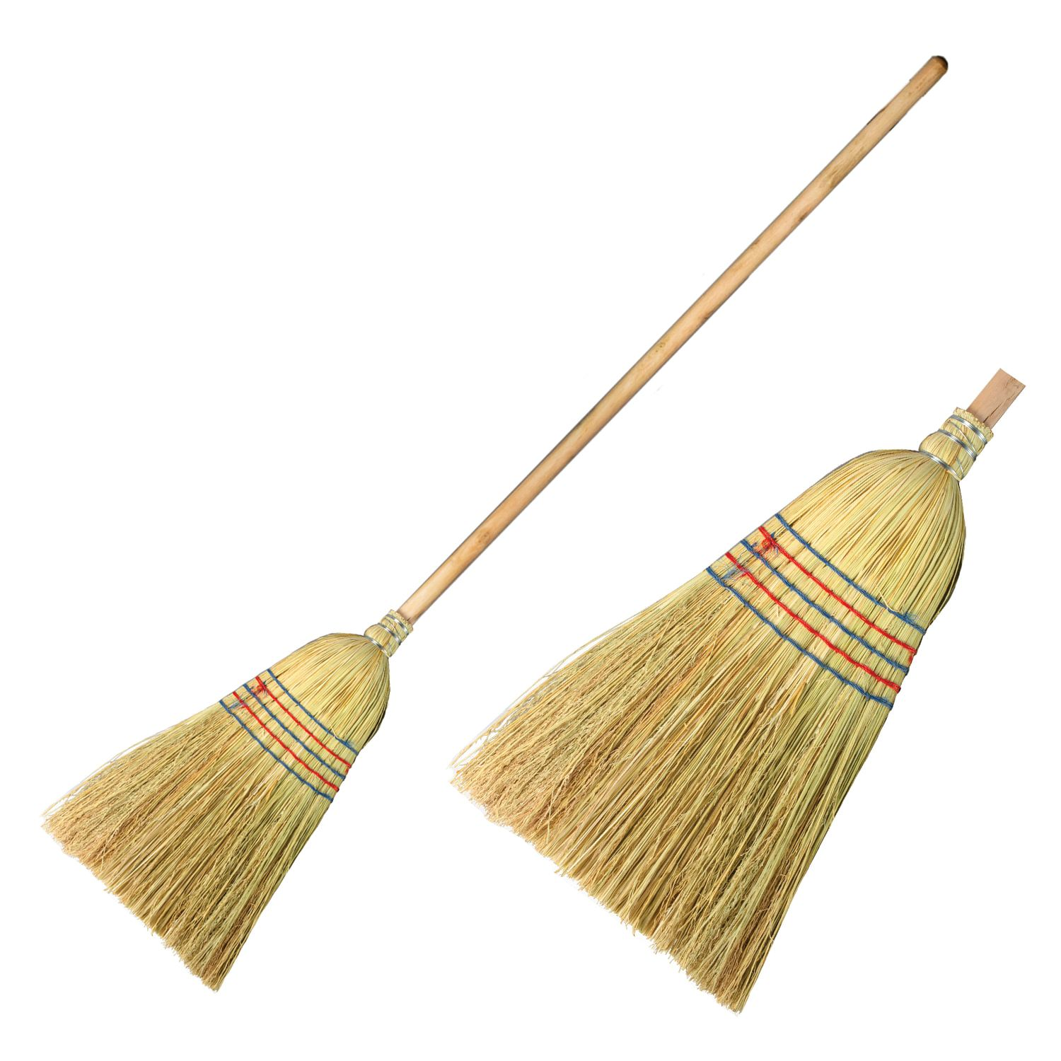 LIME / Sorghum broom-broom 2, natural, stitched, with a wooden handle 95 cm, large, 450х330 mm