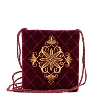 Velvet bag 'the Countess' Burgundy with gold embroidery