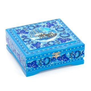 """The box """"Tree horses"""" is wooden blue 170х170"""
