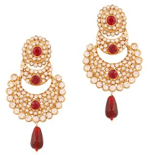 Touchstone Indian Bollywood Red And White Chaand Bali Moon Jewelry Long Chandelier Earrings For Women