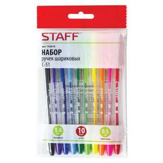 Pens STAFF C-51, SET of 10 PCs, ASSORTED, node 1 mm, all 0.5 mm