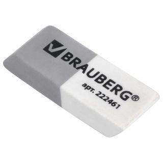 Eraser BRAUBERG, 41х14х8 mm, gray-white, rectangular, beveled edges, thermoplastic rubber