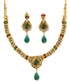 """Touchstone Indian bollywood  white red  green color jewelry necklace with 2""""lx0.75'w earrings for women"""