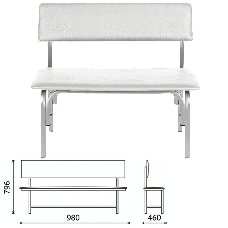 "COMFORUM / Bench with backrest ""Astrid"", 980x460x796 mm, frame light gray, leatherette light gray"