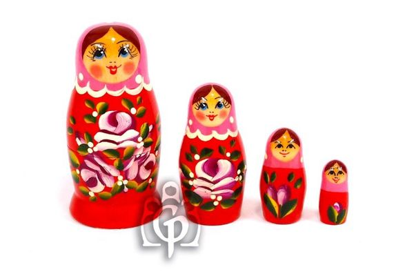 Russian woman - Russian doll booklet, 4 dolls - non-traditional