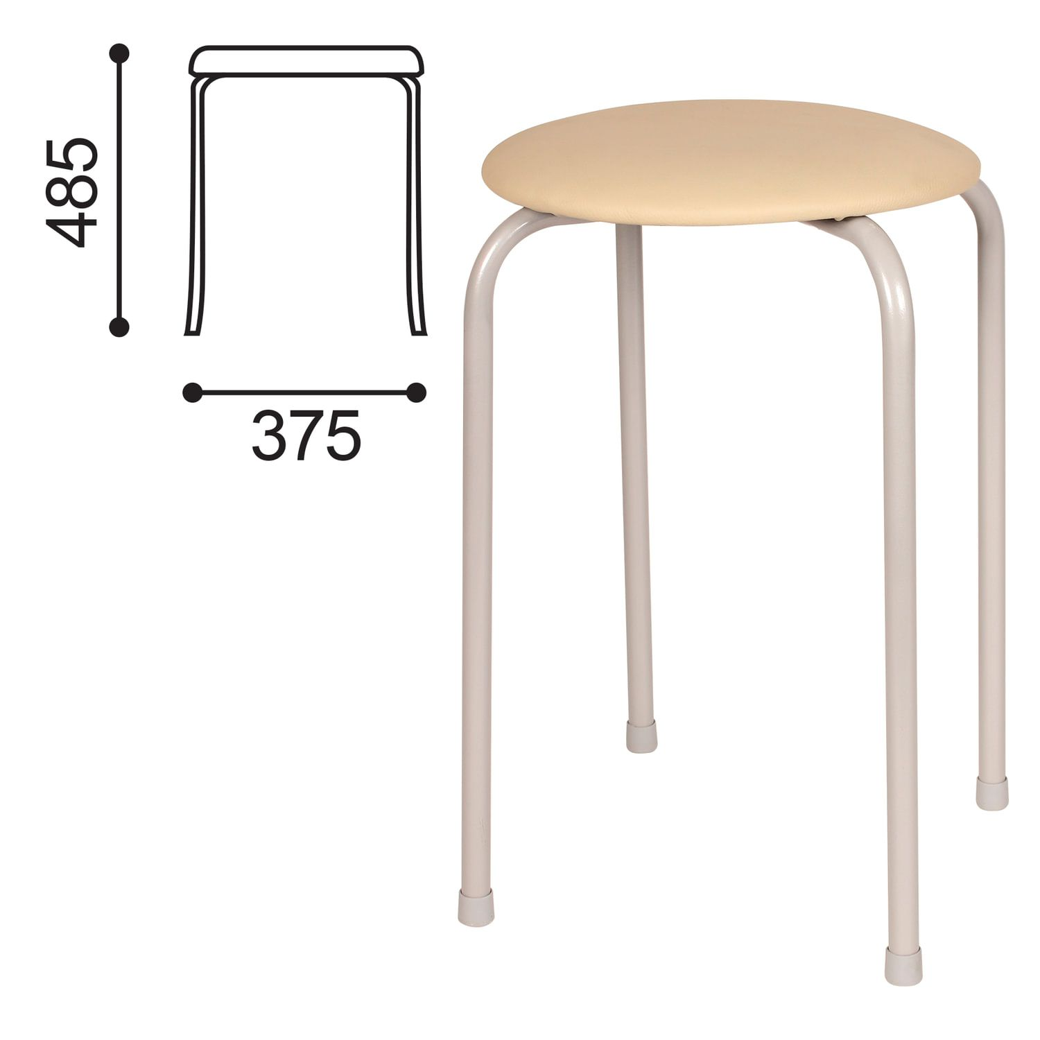 STOOL RS01-T011B, silver frame, beige leather