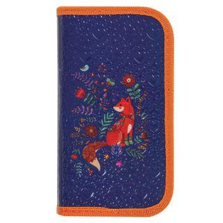 BRAUBERG pencil case, 2 compartments, metalized cardboard, convex, 19х11 cm, Red Fox