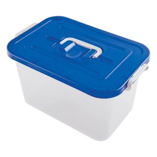 Drawer 10 l, with snap-on lid, 19x35x23 cm, lid with handle, plastic, blue / transparent