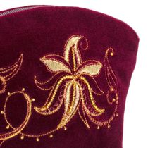 Velvet cosmetic bag 'Minuet' Burgundy with gold embroidery