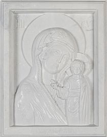 Icon of the Mother of God of Kazan made of marble Arbet ™ Mother of Pearl (white)