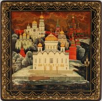 Kholui art lacquer miniature Moscow Gold-domed