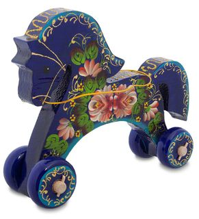"""Figurine wooden """"Horse painted"""" 18 cm"""