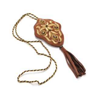 "Pendant ""Autumn waltz"" brown with gold embroidery"