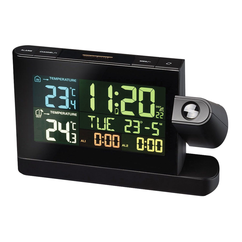 BRESSER weather station, projection, temperature sensor, clock, alarm, calendar, black