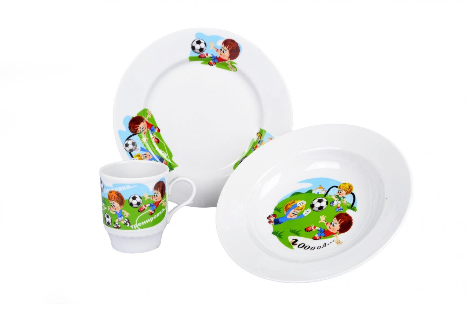 Dulevo porcelain / A set of dishes 3 ave.Training (t. 200 mm chalk, t. Depth 200 mm, mug 210 ml Russian field)