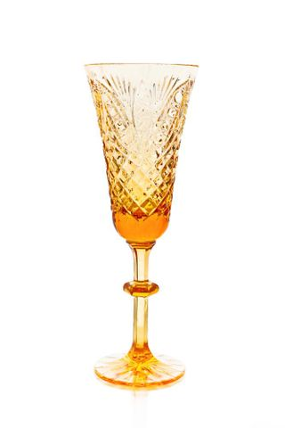 """Set of crystal glasses """"Lily"""" amber, drawing """"Pharaoh"""" 6 pieces"""