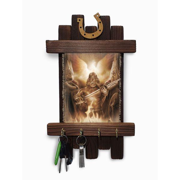 "Universal scroll / Key holder wooden wall handmade ""Sacred fire"""