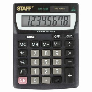 Desktop calculator STAFF STF-1808, COMPACT (140x105 mm), 8 digits, dual power supply