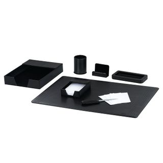GALANT table set made of eco-leather, 7 items under smooth skin, black