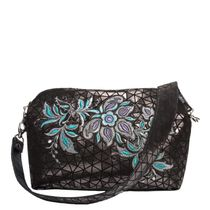 Leather bag 'crystal' gray color with silver embroidery