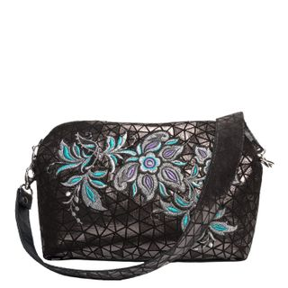"""Leather bag """"crystal"""" gray color with silver embroidery"""