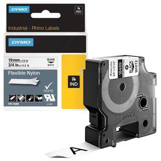 DYMO Rhino label printer cartridge, 19 mm x 3.5 m, nylon ribbon, black print, uneven surface, white