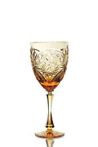 A set of crystal glasses for wine amber 6 pieces