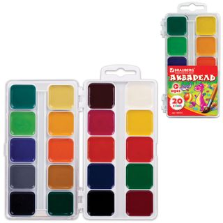 Watercolor BRAUBERG ACADEMY 20 colors, honey, square cuvettes, plastic pencil case