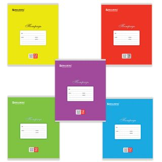 Notebook 12 sheets BRAUBERG CLASSIC, frequent slanting line, cardboard cover, ASSORTED (5 types)