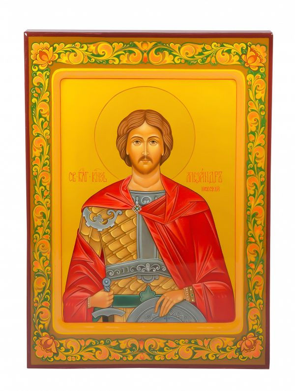 "Khokhloma painting / Icon ""Alexander Nevsky"" 245х335 mm"
