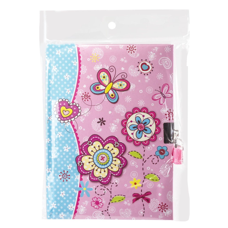 "BRAUBERG / Notebook ""Flowers"", 56 sheets A5 (135x190 mm), hardcover, foam rubber, lock, line"