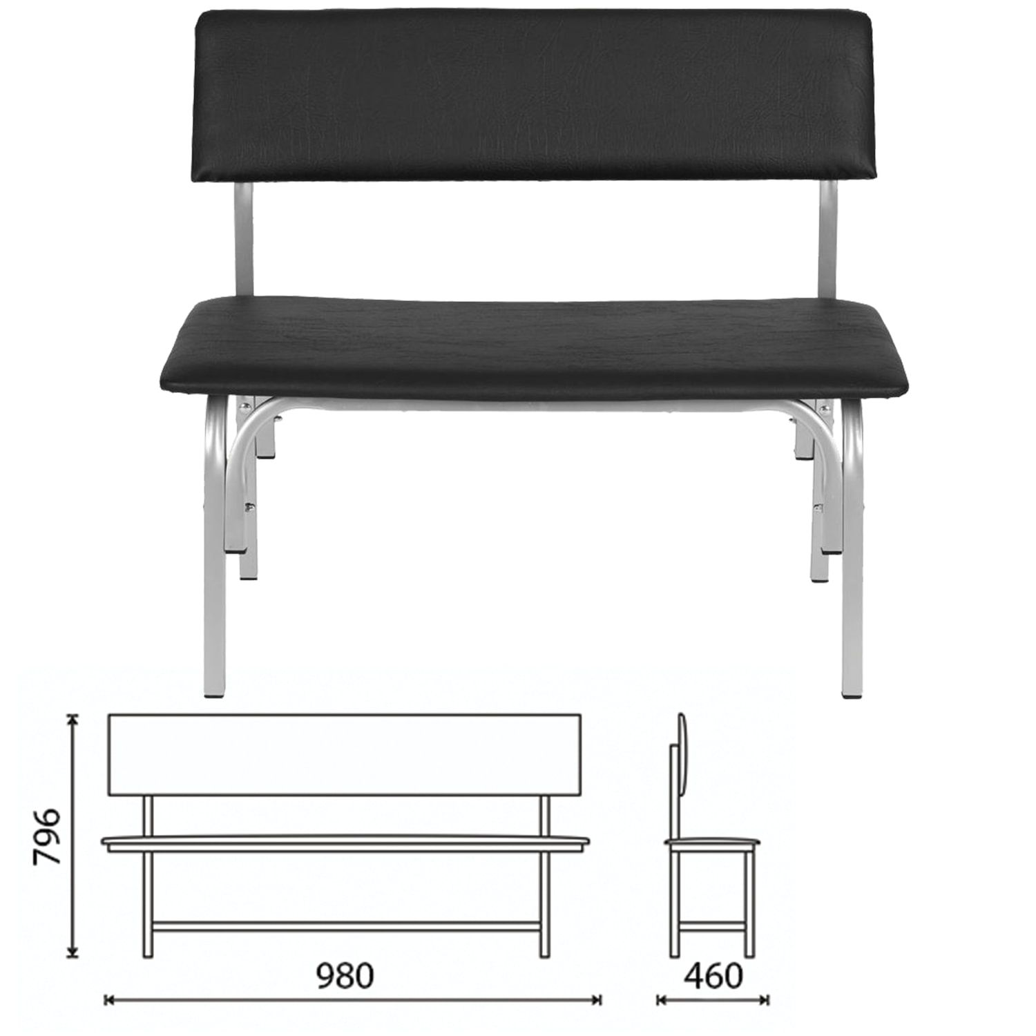 """COMFORUM / Bench with back """"Astrid"""", 980x460x796 mm, gray frame, black leatherette"""