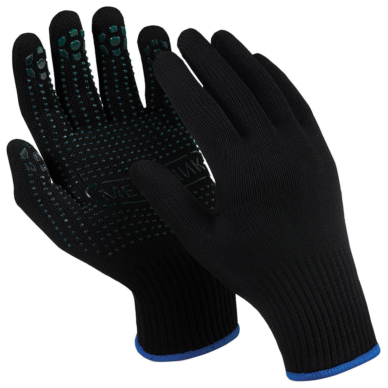 "MANIPULA / Nylon gloves ""Mechanic Black"", PVC-point, size 9 L, black, SET of 10 pairs"