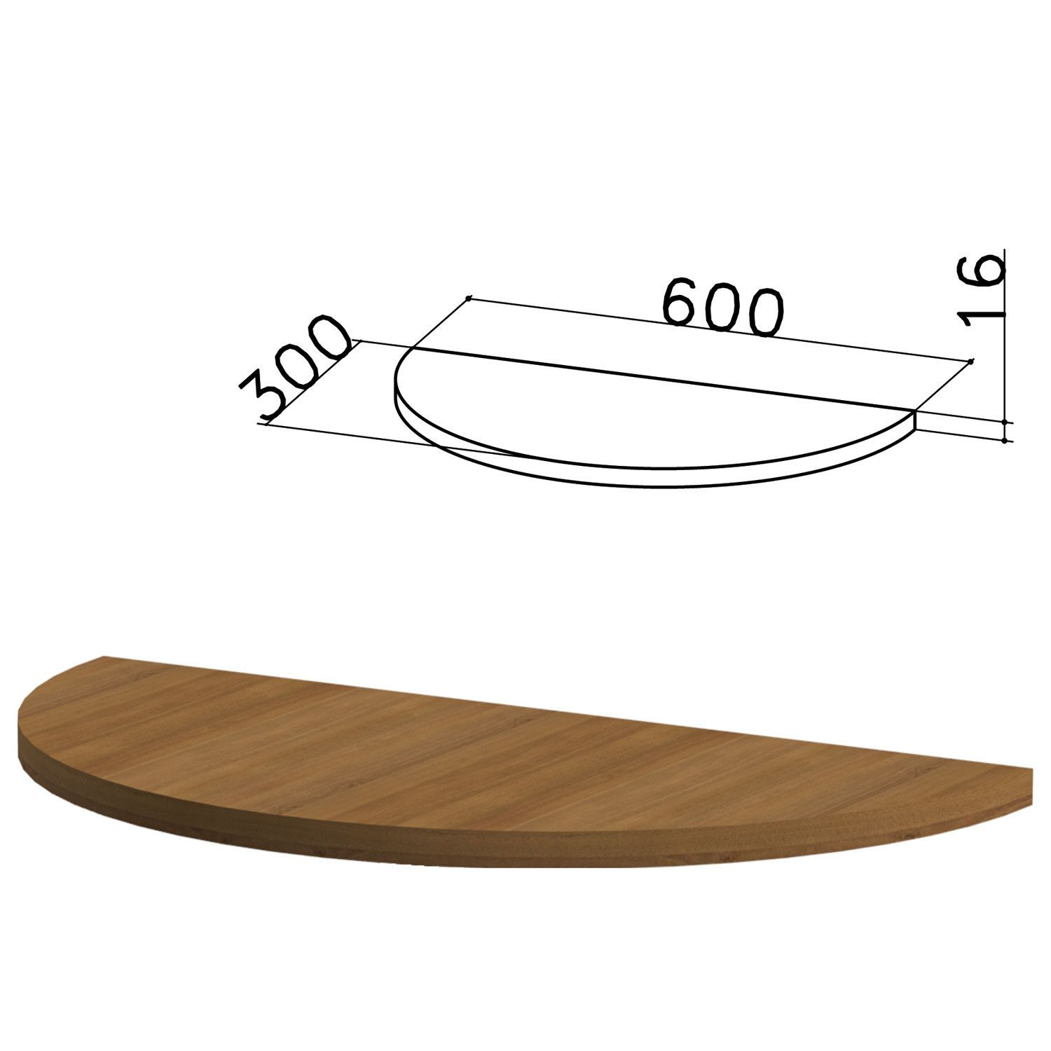 "Table of the side semicircle ""Kanz"", 600 x300s750 mm, NO OPORY, the color of the nut pyramidal"