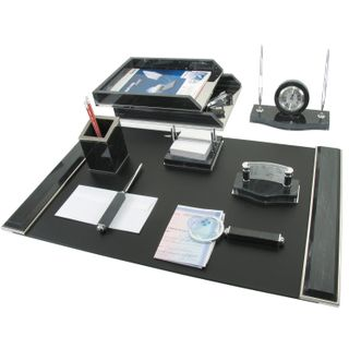 GALANT table set marble, 8 items, black marble/silver metal parts
