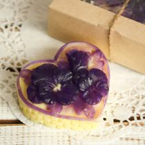 Homemade Olive Gift Soap Basket of Flowers Yellow