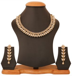 Touchstone Antique Finish Golden Plated Indian Bollywood White Rhinestones Jewelry Necklace Set For Women