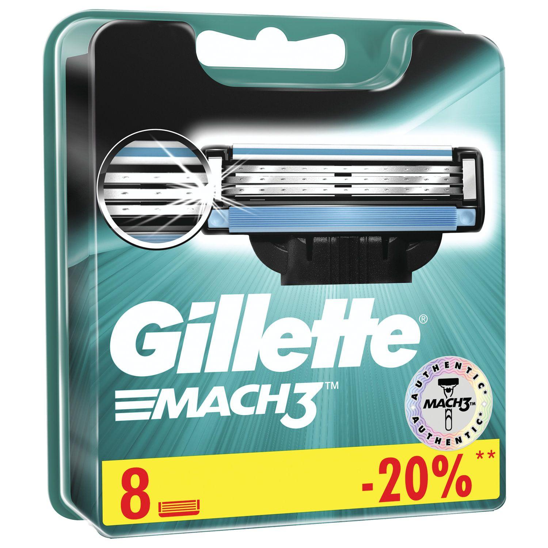 """Replacement shaving cassettes 8 pcs. GILLETTE """"Mach3"""" for men"""