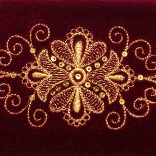 Velvet eyeglass case Pattern Burgundy with gold embroidery