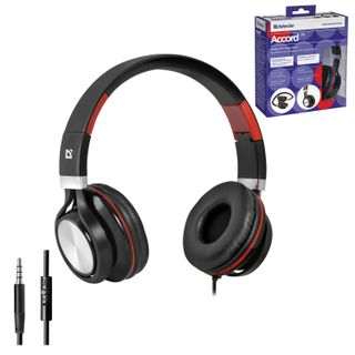 DEFENDER / Headphones with microphone (headset) Accord 175, wired, 1.2 m, black with red