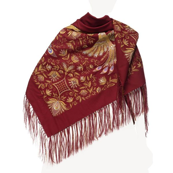 Handkerchief 'the Firebird' Burgundy with gold embroidery