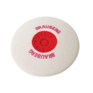 Eraser BRAUBERG Energy 30х30х8 mm, white, round, thermoplastic rubber, plastic holder