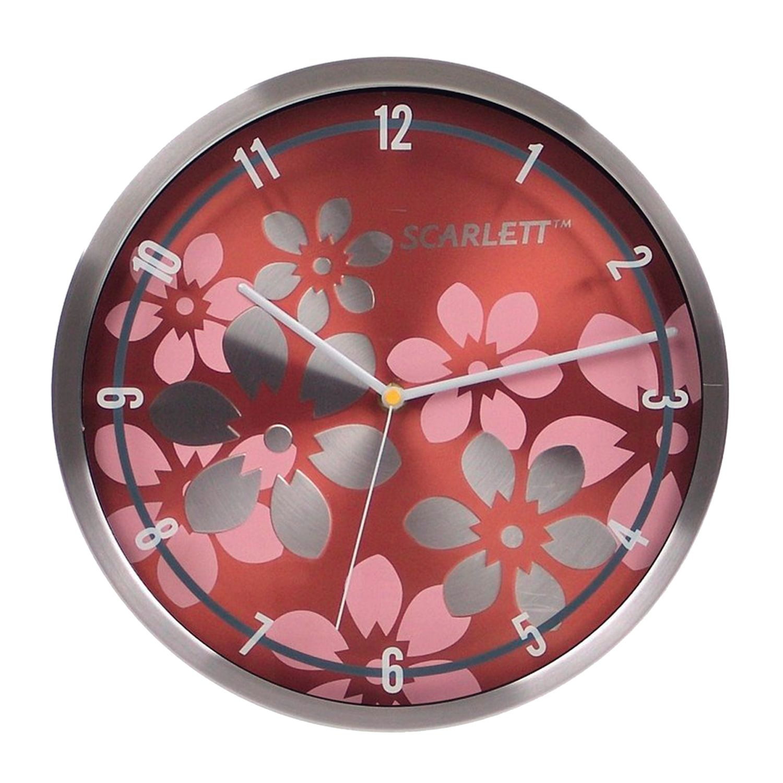 Watch SCARLETT SC-33B, round, brown with floral pattern, silver frame, 30x30x5,2 cm