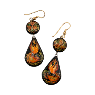"Earrings Palekh ""Firebird"", master Paramonova"