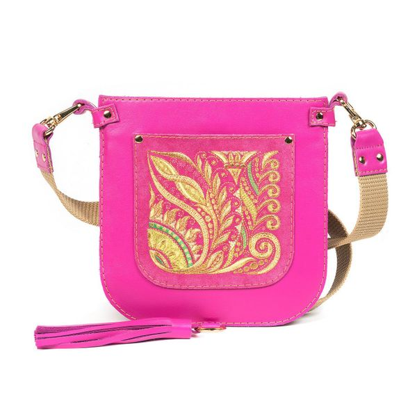 Leather bag 'Argo' pink color with Golden embroidery