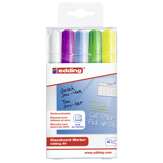 Edding / Glass board marker set, round tip, 2-3 mm, colors - 5, 8, 10, 11, 49 5 colors