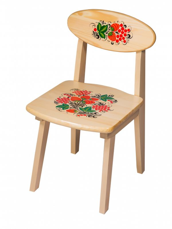 The wooden kids chair with artistic painting, 3 growth category